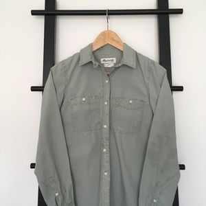 Madewell Button Down in Sage Green